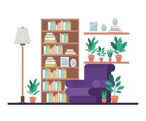 livingroom with library scene