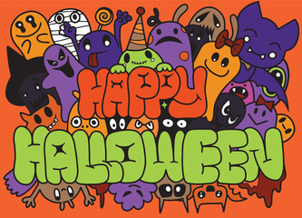 Happy Halloween ,Set of funny cute monsters, aliens or fantasy animals