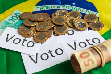 Political corruption in Brazil and the purchase of votes in elections. In a concept image.