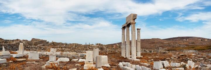Pillar in Historical Ruins in Delos panorama Wall mural