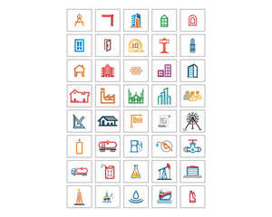 variation mixed oil refinery stationery tool image vector icon logo symbol set