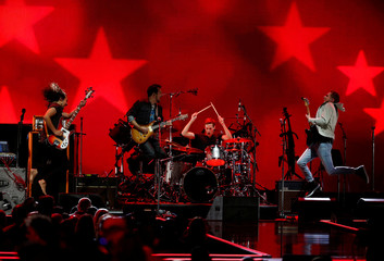2018 Macy's iHeartRadio Rising Star winner Heffron Drive performs during the iHeartRadio Music Festival at T-Mobile Arena in Las Vegas