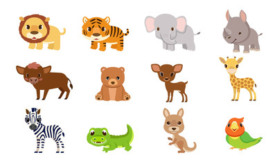 Vector illustrations cute animals creatures in the jungle for kids.