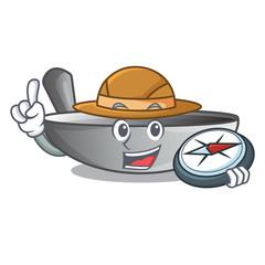 Explorer cartoon wok on the kitchen utensil