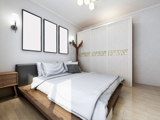 Modern clean bedroom design renderings