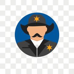 Sheriff vector icon isolated on transparent background, Sheriff logo design