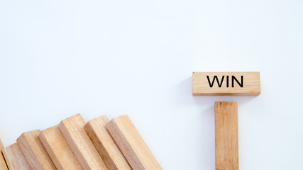 win word written on wood block on white background