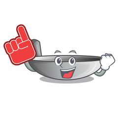 Foam finger frying pan wok isolated on mascot