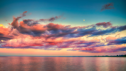 Beautiful Sunset Clouds over horizon of Lake Superior