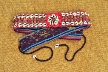 Vintage African Bead and Shell Belt.