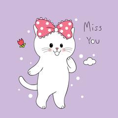 Cartoon cute sweet cat vector.