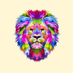 Colorful mascot head lion