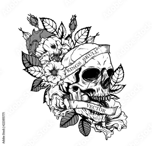 skull with roses tattoo by hand drawing tattoo art highly detailed in japanese line art style