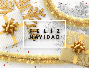 Spanish text Feliz Navidad. Christmas background. Design illustration golden bright decorations, shining sparkles of snowflakes, gift box, gold tinsel and light garland. Xmas card vector