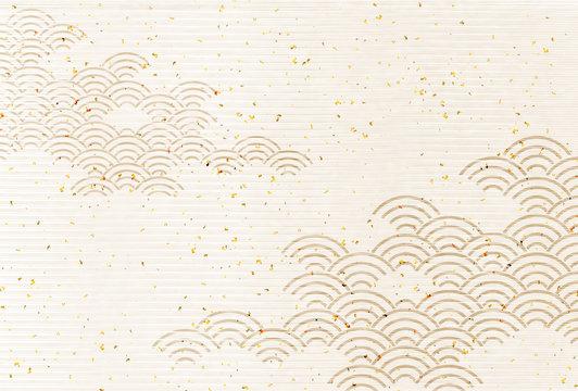波 年賀状 和紙 背景
