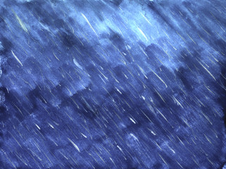 Rain on blue background in watercolor