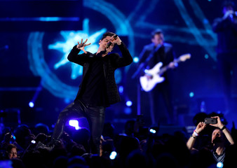 Panic! At The Disco lead singer Brendon Urie performs during the iHeartRadio Music Festival at T-Mobile Arena in Las Vegas