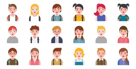 student avatar with various hair style, flat design