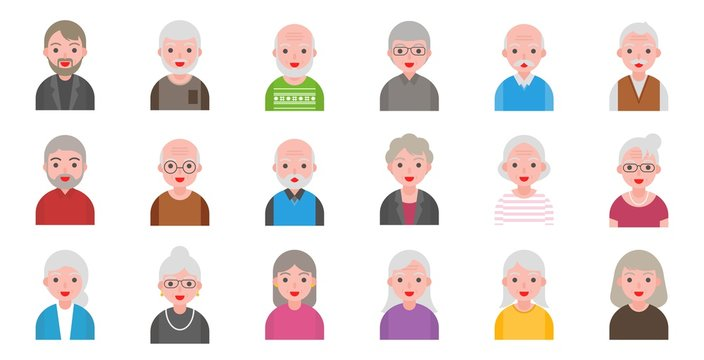 illustration of older people isolated on white background in flat style