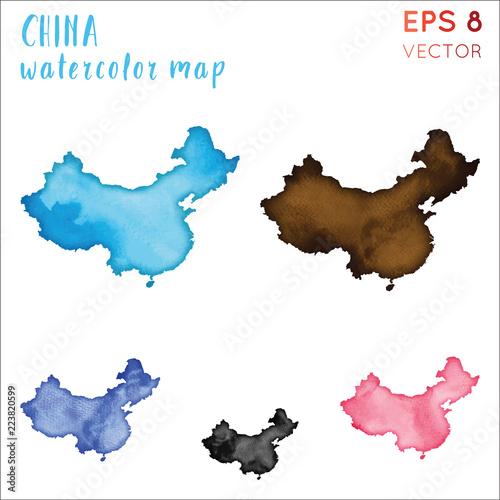 China Watercolor Country Map Handpainted Watercolor China Map Set