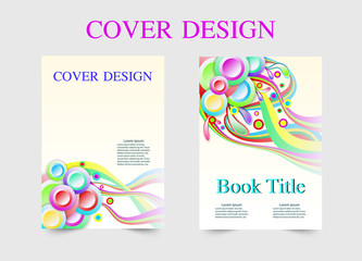 book cover design rainbow line template. Vector illustration