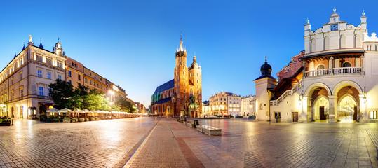 Poster Krakow Panorama of Krakow Market Square, Poland at night
