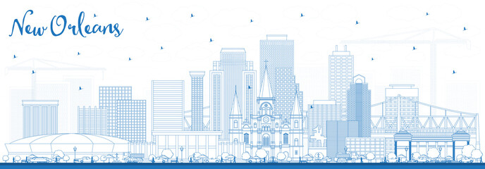 Outline New Orleans Louisiana City Skyline with Blue Buildings. Fotomurales