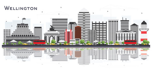 Wellington New Zealand City Skyline with Buildings Isolated on White Background.