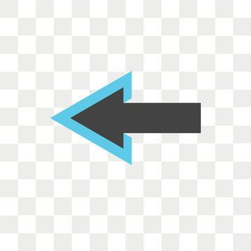 Left arrow vector icon isolated on transparent background, Left arrow logo design