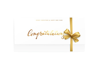 Paper card with the word congratulations, Merry Christmas and Happy New Year.