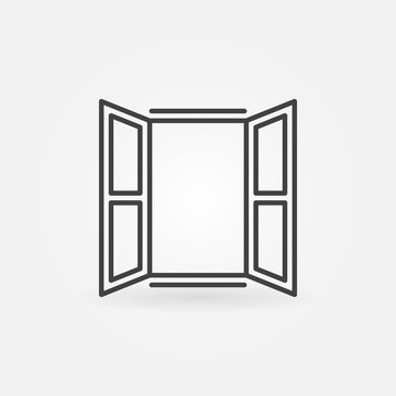 Opened window icon. Vector symbol in linear style