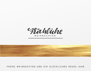 Christmas card, design with golden texture paint brush. Xmas greeting card vector illustration. German text Frohliche Weihnachten