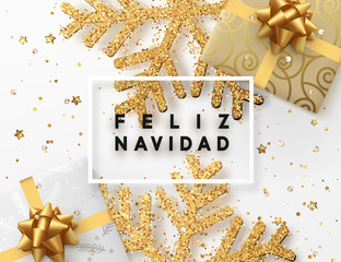 Spanish lettering Feliz Navidad. Christmas background with gifts box and shining golden snowflakes. Xmas Greeting card. Vector Illustration.