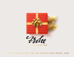 German text Frohe Weihnachten, Vector illustration letttering Merry Christmas, gift box closed wrapped ribbon with bow. Xmas greeting card, banner, poster.