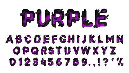 Alphabet colors purple and black. Paper cut letter. Fluid typeface, texture style papercut. Design 3d sign isolated on white background. Alphabet font of melting liquid.