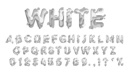 Alphabet colors white. Paper cut letter. Fluid typeface, texture style papercut. Design 3d sign isolated on white background. Alphabet font of melting liquid.
