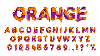 Alphabet colors orange and lilac. Paper cut letter. Fluid typeface, texture style papercut. Design 3d sign isolated on white background. Alphabet font of melting liquid.