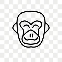Gorilla vector icon isolated on transparent background, Gorilla logo design
