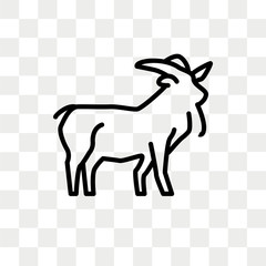 Goat vector icon isolated on transparent background, Goat logo design