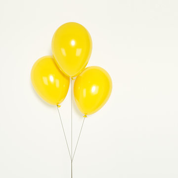 Yellow Balloons isolated on white background. 3d rendering.