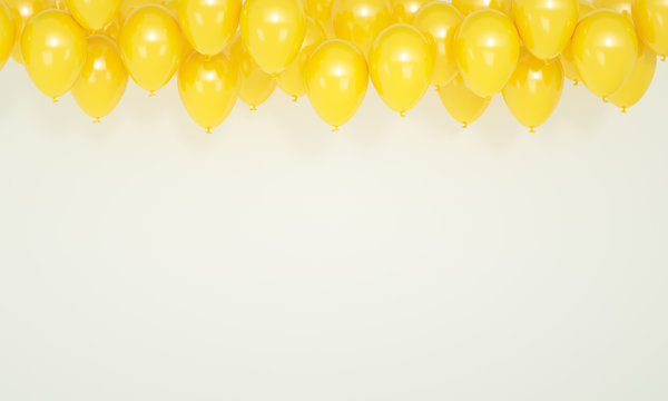 Birthday a lot of yellow balloons on white background, 3d render