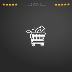 Premium Symbol of Shopping Cart Related Vector Line Icon Isolated on Gradient Background. Modern simple flat symbol for web site design, logo, app, UI. Editable Stroke. Pixel Perfect.