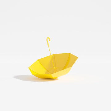Upside down yellow umbrella isolated on white background, 3d render