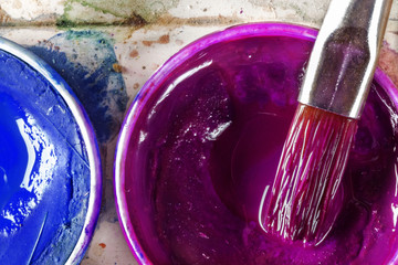 Blue and purple watercolors
