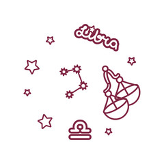 vector cute line Zodiac sign