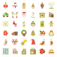 Merry Christmas icon set 5, flat style