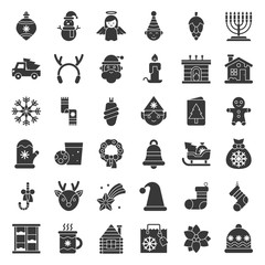 Merry Christmas icon set 5, solid style