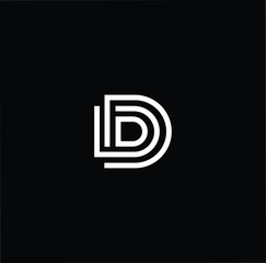 Initial White letter D DD DDD Logo Design with black Background Vector Illustration Template