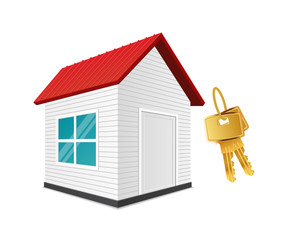 Realistic new house with keys. Vector illustration of property rent, sale, purchase or lease. Real estate transactions. Housing, habitation, accommodation, lodging property.