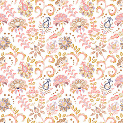 Hand drawn flower seamless pattern. Colorful seamless pattern with fantasy flowers and leaves. Doodle style. Perfect for textile, cover design.